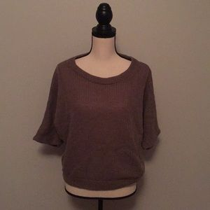 Wide neck pull over sweater with winged sleeves